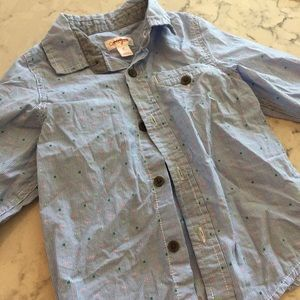New Cat & Jack button up striped collared shirt